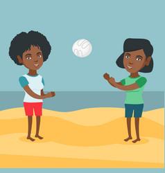 African-american women playing beach volleyball vector