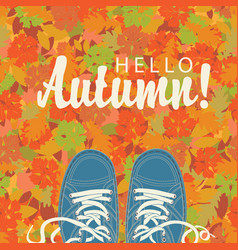 autumn banner with the inscription and blue shoes vector image