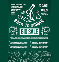 back to school big sale offer poster vector image vector image