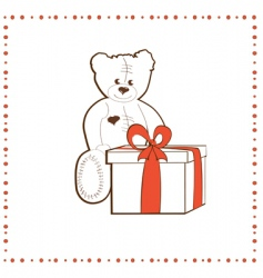 bear with gift box vector image vector image