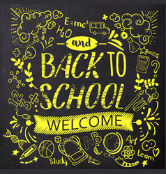 Bright back to school doodle on chalkboard vector