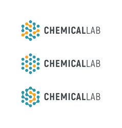chemical lab logo template abstract hexagon vector image