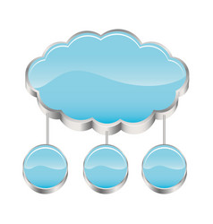 Cloud storage connected with set circular figures vector