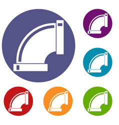 Connection pipes icons set vector