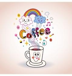 Cute cartoon coffee cup vector