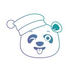 Cute panda crazy emoji kawaii vector