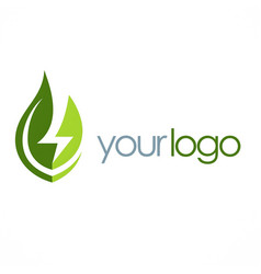 Eco green leaf energy logo vector