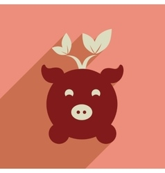 Flat web icon with long shadow eco pig vector