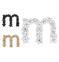 Floral decorative lowercase letter m vector