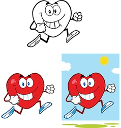 Heart cartoon excercising vector