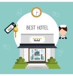 Hotel building five stars icon vector