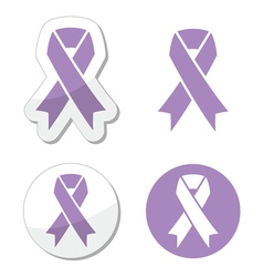 Lavender ribbon general cancer awareness vector image vector image
