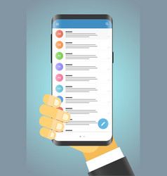 man holding modern smartphone modern smartphone vector image vector image