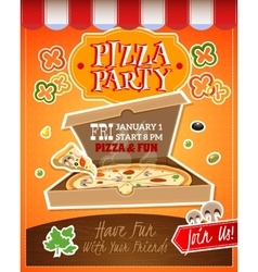Pizza party poster vector