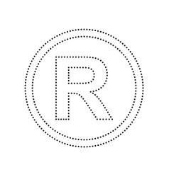 Registered trademark sign black dotted vector
