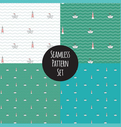 Seamless marine pattern set vector