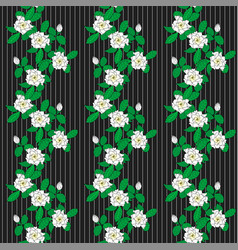 seamless pattern with graphic flowers gardenia and vector image