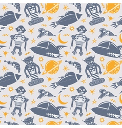 seamless pattern with robots spaceships and planet vector image vector image