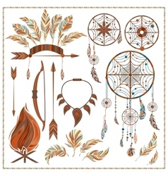 Set isolated ethnic elements arrows feathers vector