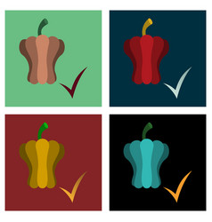 Set of flat icon of colored and sweet bulgarian vector