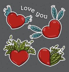 set of hearts love you symbol vector image