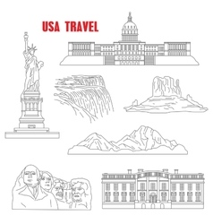 Thin line style USA landmarks vector image vector image