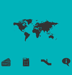 world map icon flat vector image
