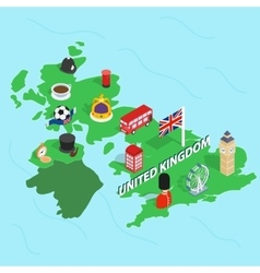 United kingdom map isometric 3d style vector