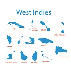 West indies - maps of countries vector