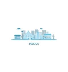 Mexico cityscape silhouette in blue colors vector