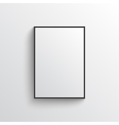 White blank poster with frame mock-up on grey wall vector image