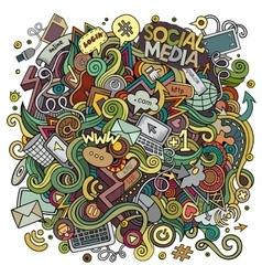 Cartoon cute doodles hand drawn social media vector