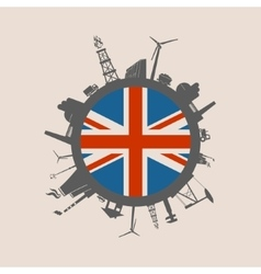 Circle with industrial silhouettes Britain flag vector image