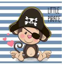 Little monkey pirate vector