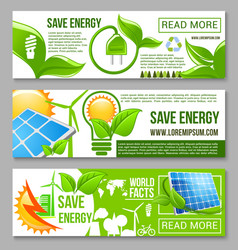 Eco green energy saving banner set design vector