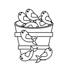 Fish pot miracle jesus christ religious outline vector
