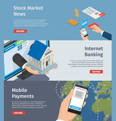 Smart internet banking promotion page vector
