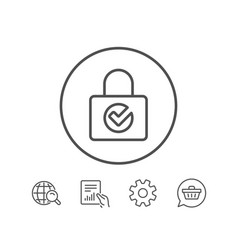 Lock with check line icon private locker sign vector