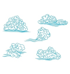 Curly clouds set vector