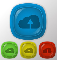 Circle blue icon with shadow cloud download vector