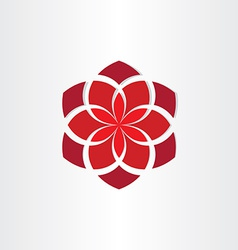Red flower icon background vector