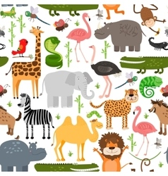 Jungle animals seamless pattern vector image