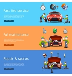 Auto mechanic service flat banners set vector