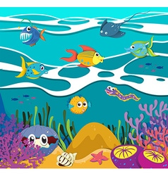 Fish and sea animals underwater vector