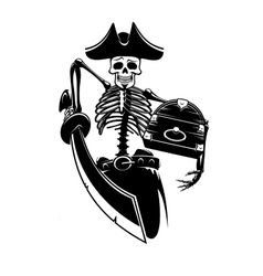 Pirate skeleton with treasures and sword vector