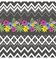 Floral seamless pattern with zigzag stripes vector