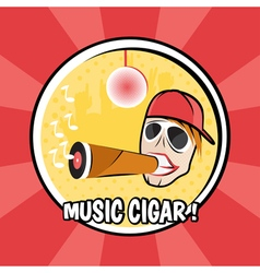 Pop art poster with dj and cigar with vinyl vector