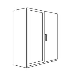 A small wardrobe with a clean mirrorbedroom vector