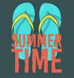 beach summer time poster design with flip flops vector image