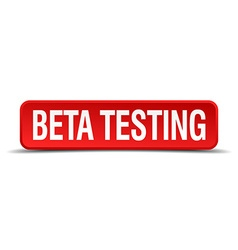beta testing red three-dimensional square button vector image vector image